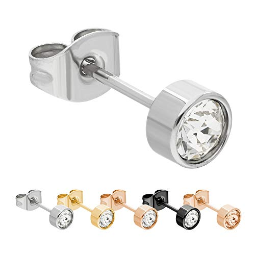 Max Palmer®   Swarovski Kristall Ohrstecker   Stecker: Silber   Zirkonia Stein: 4mm klar (transparent/durchsichtig)   hautfreundlicher Edelstahl