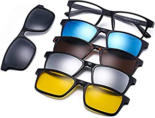 Polarized Mirror Night Vision Glasses 5 Magnetic Clip Black Sunglasses Magnetic 5Pcs Polarized Clip-on Sunglasses Plastic ...