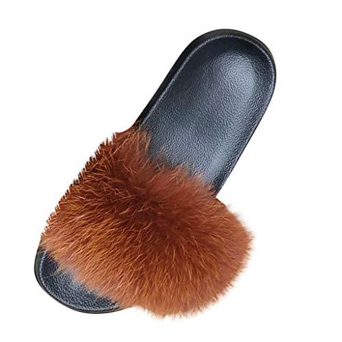 Pantoufles Femmes Chausson Peluche Slippers Sandales Fausse Fourrure Bout Ouvert Accueil Chaussures (40,Café)