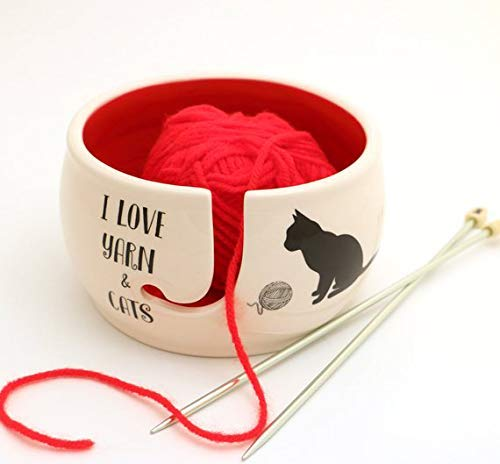 Cat Yarn Bowl, I Love Cats and Yarn, Lennymud by Lorrie Veasey