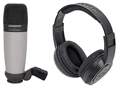 Samson C01 Studio Condenser Recording Microphone Mic+Monitoring Headphones