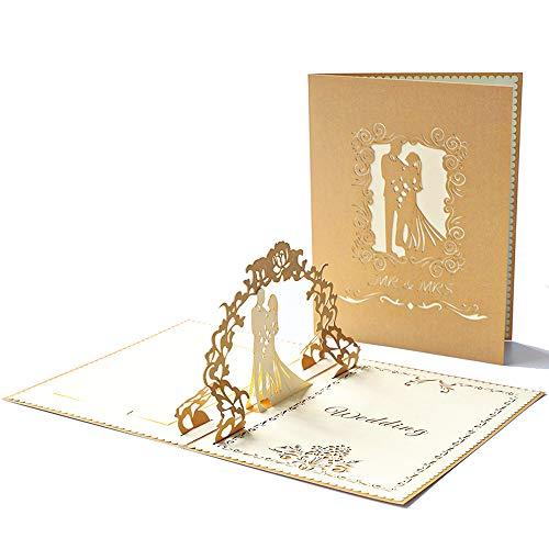 Bruiloftskaart 3D Pop Up Wenskaart Bruiloft Kaart met Envelop Vouwkaart voor Bruiloft Verloving Gefeliciteerd Uitnodiging Kerstmis Valentijnsdag Kaarten Gift Goud