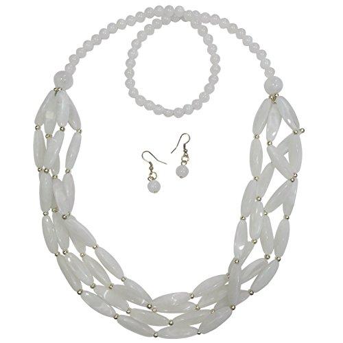 Gypsy Jewels - Juego de Collar y Pendientes Largos de 3 Filas de Cuentas Doradas