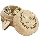 JUSTDOLIFE Caja de Anillo de Boda Caja de Anillo de joyería de Madera de Grabado rústico Corazón Caja de Portador de Anillo