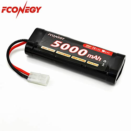 FCONEGY NiMH Battery 7.2V 5000mAh Flat Pack with Tamiya Plug for RC Cars/RC Truck