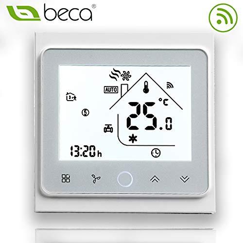 Beca 002 Serie Pantalla táctil Termostato de sala Dos/Cuatro tubos para aire acondicionado Fan Coil con conexión Wifi para soporte Voz inteligente (Dos tubos, Blanco completo)
