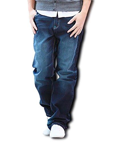 (Make 2 Be) デニム 豊富なサイズ ストレート ジーンズ ゆったり ワイド ジーパン メンズ 27-48 インチ MF64 (04.Blue(ステッチ青)_31)
