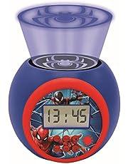 LEXIBOOK- Reloj Despertador con proyector Spiderman Marvel con función de repetición y Alarma, luz Nocturna con Temporizador, Pantalla LCD, batería, Azul/Rojo