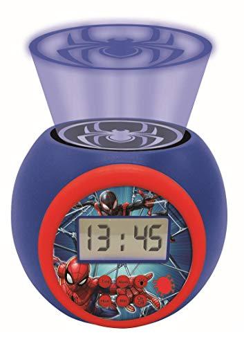 Lexibook RL977SP Projector-Wecker Spiderman Marvel mit Schlummerfunktion und Weckfunktion, Nachtlicht mit Timer, LCD-Bildschirm, Batteriebetrieb, Blau/Rot