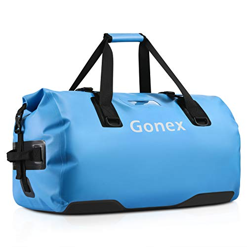Gonex 60L Large Waterproof Duffel, Durable Travel Dry Duffle Bag for Kayaking Boating Fishing Outdoor Adventure Light Blue