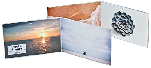Crystal Clear Memories 2-Pack Horizontal Photo Frame Displays (4x6), Clear Angled Acrylic Plastic for Bedstand, Living Room or Office (Set of 2 Frames)