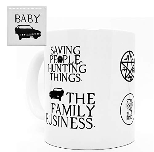 Double - Sided SPN Coffee Mug and Magnet, 11oz. Ceramic Supernatural Gift Mug - Anti-Possession Symbol, Devil's Trap,Stay Inside the Salt Ring, and Saving People Hunting Things, Baby. (SPN fan gift)