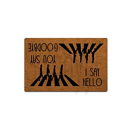 """Funny Front Door Mat You Say Goodbye and I Say Hello Doormat Funny Decor Rubber Non Slip Backing Funny Doormat for Outdoor/Indoor Uses, Low-Profile Rug Mats for Entry 23.6""""(W) X 15.7""""(L)"""