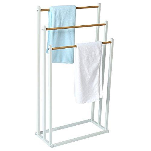 HOME BI Free Standing Towel Drying Rack, 3 Tier Metal Towel Bathroom Shelf, Rust-Resistant, Easy to Assemble