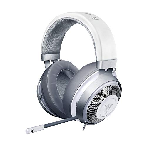 Razer Kraken - Gaming Headset (Kabelgebundene Headphones für PC, PS4, Xbox One & Switch, 50mm Treiber, 3,5mm Audio-Klinkenstecker mit In-Line Fernbedienung) weiß / mercury
