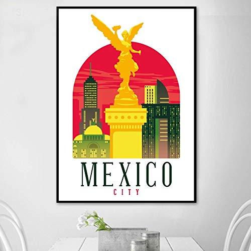 TELEGLO (No Frame) 50 * 70cm Retro Vintage Miami New York San Francisco Washington DC Mexiko-Stadt Landschaft Kunst Leinwand Poster Wandbild für Zimmer