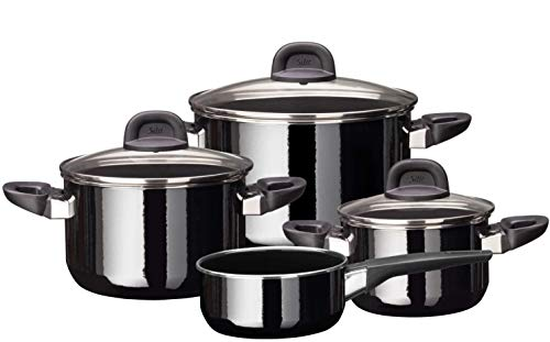 Silit Modesto Line Lot de 4 casseroles avec couvercle en verre, céramique fonctionnelle Silargan, casseroles à induction, noir