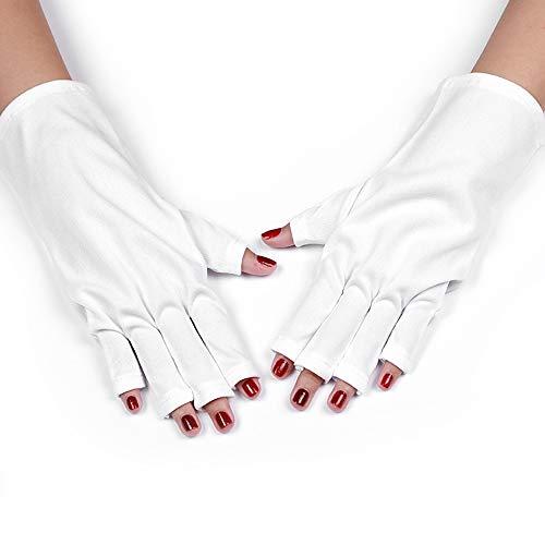 Layhou Guantes de Protección UV Guante anti UV sin dedos Protege las manos de los rayos UV con LED UV Gel