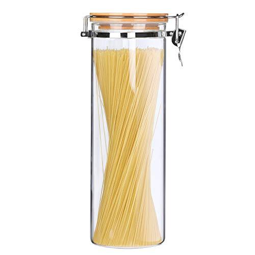 KKC Barattoli Pasta in Vetro Ermetici,Contenitori in Vetro per Spaghetti e Pasta,Barattoli Borosilicato con Chiusura Ermetico,2 L