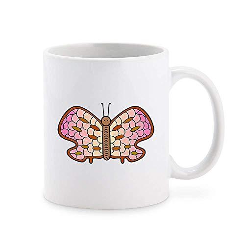 N\A Simple Mosaic Nursery Kindergarten Butterfly Cartoon Emoji, Pink Brown Ombre Taza de café Taza de té Novedad Tazas de Regalo 11 oz
