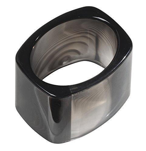 InterDesign Tor*Trois servilleteros individuales para cocina o salón | Porta servilletas de plástico color negro | Juego de 4 servilleteros para decoración de mesa