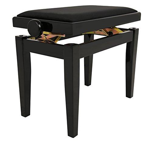 NAVARRA Pianobank/Klavierbank Elegance schwarz hochglanz, höhenverstellbar durch Scherenmechanik