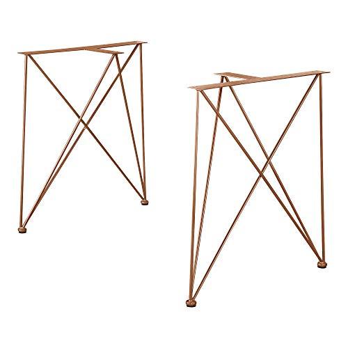 [en.casa] 2X Tischgestell 62x22x72cm Kupfer Stahl DIY Esstisch Hairpin Leg
