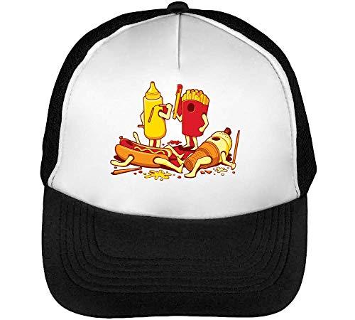 Fast Food War Trucker Cap Heren Vrouwen Zwart Wit Snapback