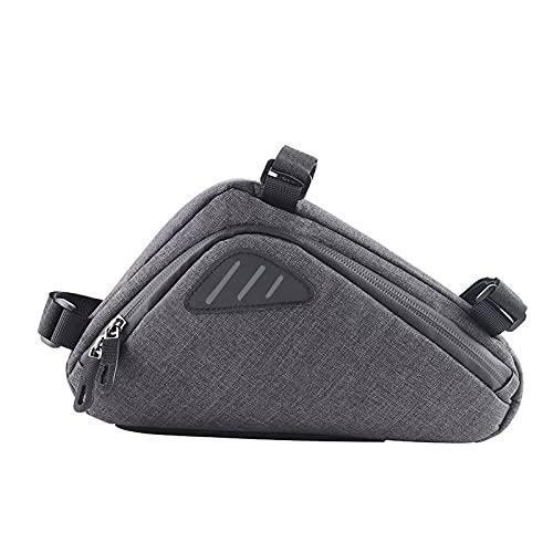 Borsa triangolare riflettente per bicicletta,borsa per attrezzi da mountain bike,borsa per telaio della bicicletta,borsa per trave anteriore per la guida,la capacità della borsa è di 0.6 litri,grigia.