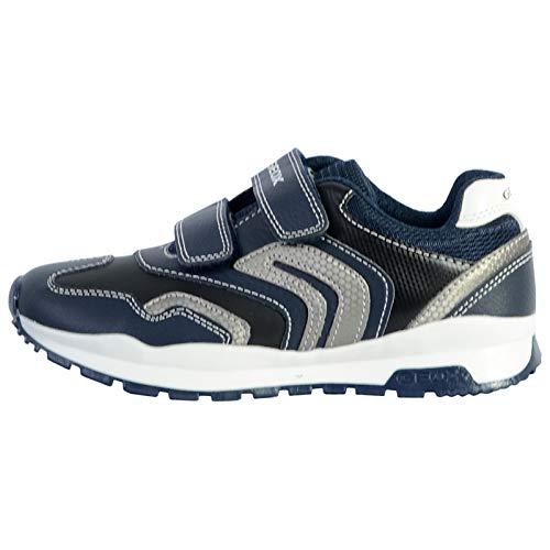 Geox Unisex - Kinder Sneaker Pavel, Jungen,Mädchen Low-Top Sneaker,lose Einlage, junior Kleinkinder Kinder-Schuhe toben,Navy/Silver,34 EU / 1.5 UK