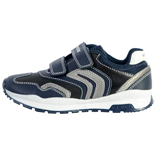 Geox Unisex - Kinder Sneaker Pavel, Jungen,Mädchen Low-Top Sneaker,lose Einlage, sportschuh Klettschuh Klett-Verschluss,Navy/Silver,33 EU / 1 UK