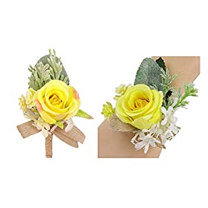 usix 2pc pack-handmade artificial flower yellow rose wrist corsage & men's lapel boutonniere pin combo set package with burlap ribbon for wedding party prom homecoming (style e)