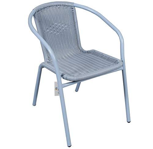 Silla APILABLE Armada Metal Mimbre PVC para Exterior O Interior. Ideal para Jardin O TERRAZA. (Alto 72 x Ancho 58 x Fondo 54 cm) (Azul)