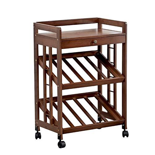 LYLY Botellero Cabina de Vino de Vino móvil Titt de Vino de inclinación para el hogar Diseño de cajón de Estante de exhibición de Almacenamiento Independiente con polea Estante de Vino