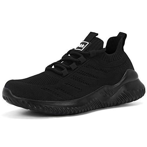 AKK Women's Athletic Walking Shoes Casual Mesh Comfortable Jogging Sport Walking Work Sneakers Gym Fitness All Black Size 7.5