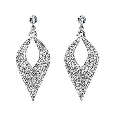 BriLove Bohemian Boho Dangle Earrings for Women Crystal Hollow Leaf Chandelier Earrings Clear Silver-Tone