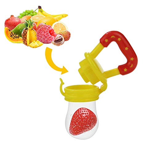 Baby Fruchtsauger Schnuller - Yisscen Frischkost Schnuller mit 3 verschiedenen Größen Silikon Schätzchen Schnuller Ersatz (S, M, L) - Baby Zahnen Nibbler Beißring Schnuller für Obst und Gemüse (Gelb)