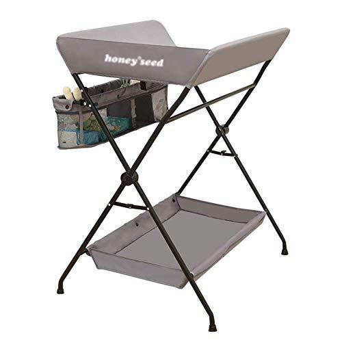BBNBY baby veranderen tafel voor peuter/zuigeling, opklapbare luier station dressoir babybedje met opslag, Oxford doek - grijs