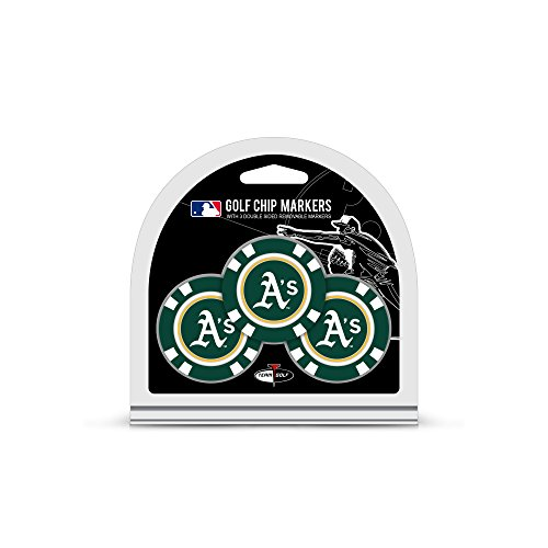 Team Golf MLB Golf Chip Ball Markers (3 Count), Poker Chip Size with Pop Out Smaller Double-Sided Enamel Markers, Oakland Athletics