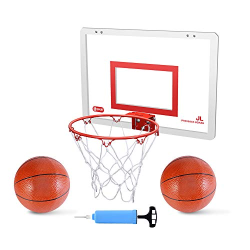 Mini Basketball Hoop Set for Door & Wall - 18' x 12' Board, 2 Balls & Pump with Complete Accessories, Basketball Toys Gifts for Kids Boys Teens, Indoor & Outdoor Slam Dunk Basketball Game for Children