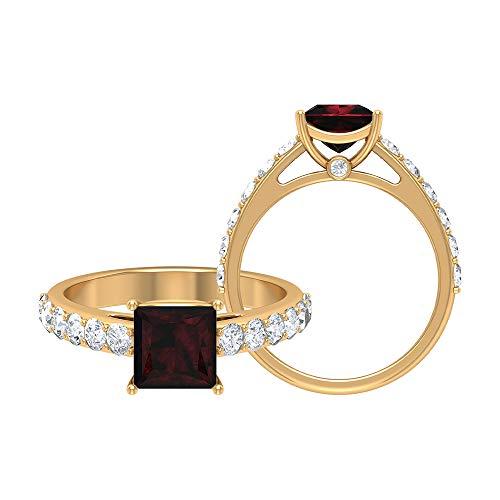 Anillo solitario de granate de corte princesa de 6,50 mm, D-VSSI Moissanite, anillo de piedra lateral, simple anillo de oro (calidad AAA), 14K Oro amarillo, Size:EU 51