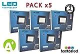FactorLED ¡OFERTA! Pack x5 Foco LED 30W Negro Slim,...