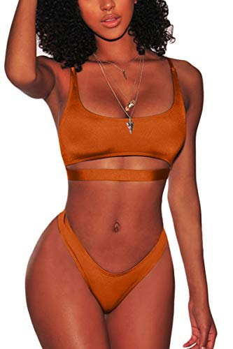 FAFOFA Womens Sexy Bikini Bathing Suit Low Scoop Neck Spaghetti Straps Cut Out Underboob Crop Top High Cut Cheeky Bottom 2PCS Swimsuit Beachwear Dark Orange L