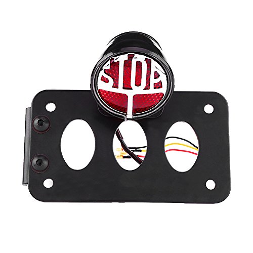 Qiilu Universal Side Mount Motorcycle Tail Light License Plate Lamp with Bracket