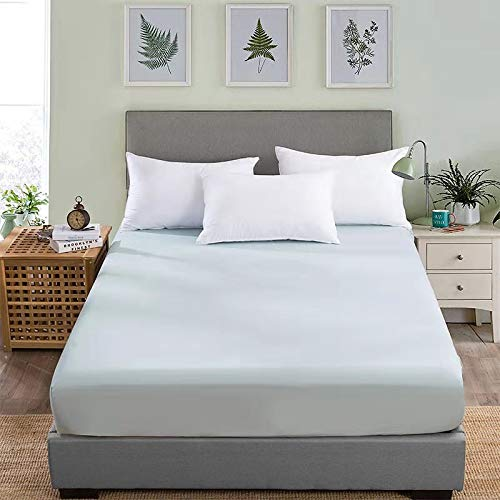 WWQQ Bed Sheet Bedspread Solid Color Fitted Sheet Bed Mattress Cover Set Bed Sheet Single/Double/King Size Mattress Sheets Bedding Bed Shrink Resistance, No Fading (Color : C, Size : 180x200cm+15cm)