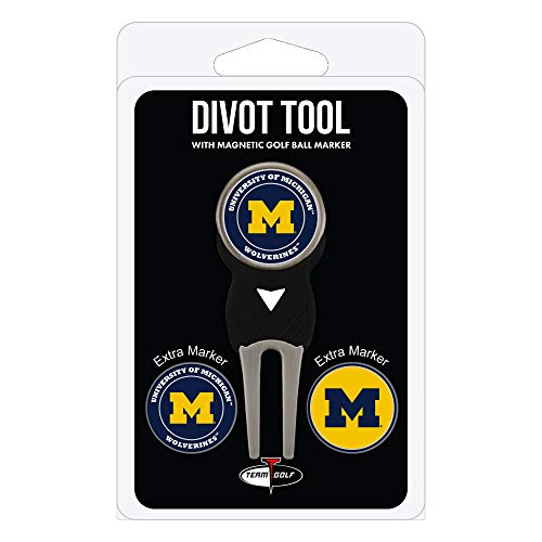 Team Golf alabama-Parent NCAA Michigan Wolverines Divot Tool with 3 Golf Ball Markers Pack, Markers are Removable Magnetic Double-Sided Enamel,Multi