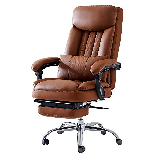 Adjustable Backrest Leather Ergonomic Office Recliner Chair with Footrest and Removable Lumbar Pillow for Living Room, Gaming Room, and Office, Brown