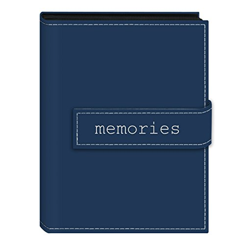 Pioneer Photo Albums EXP-57/BM 36-Pocket 5 by 7-Inch Embroidered 'Memories' Strap Sewn Leatherette Cover Photo Album, Mini, Blue