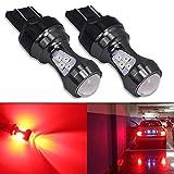 HSUN 7443 W21/5W T20 Bombillas LED rojas 16LED SMD3030 Chipsets 3200LM Bombillas extremadamente brillantes con Canbus de alta potencia para luz de freno LED de coche, luz trasera y más, 2 unidades