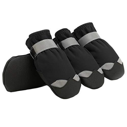 YUIP 4 Stück Hundeschuhe wasserdichte Hundeschuhe mit Anti-Rutsch Sole Reflexstreifen Passend Klettverschluss Schneeschuhe für Kleine und Mittelgroße Hunde (Schwarz)